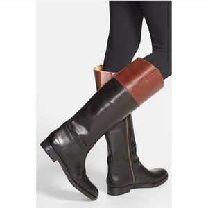 Enzo Angiolini Two Toned Leather Riding Boots Sz 6